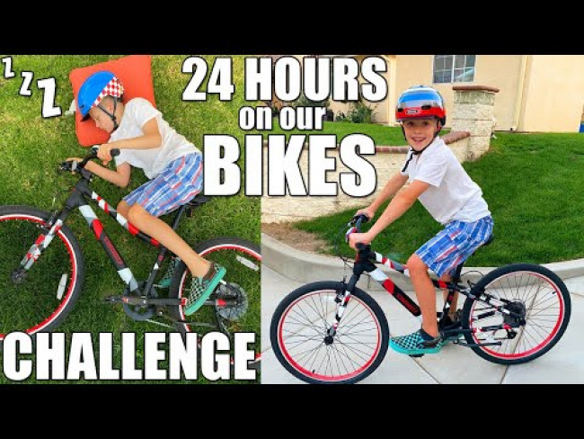 24 Hours On a BIKE Challenge - Can't Leave for ANY Reason!
