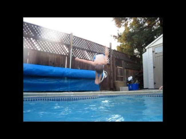 3 Year Old Does Pool Flips! Family Fun Pack in the Swimming Pool