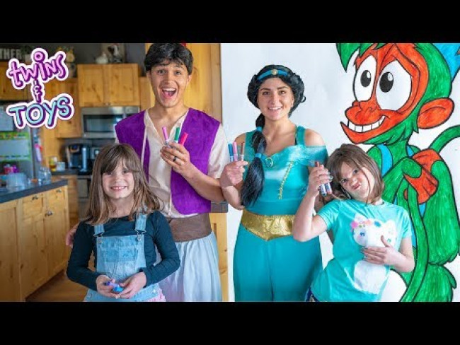 Aladdin and Princess Jasmine's Three Marker Challenge with Twins Kate and Lilly!