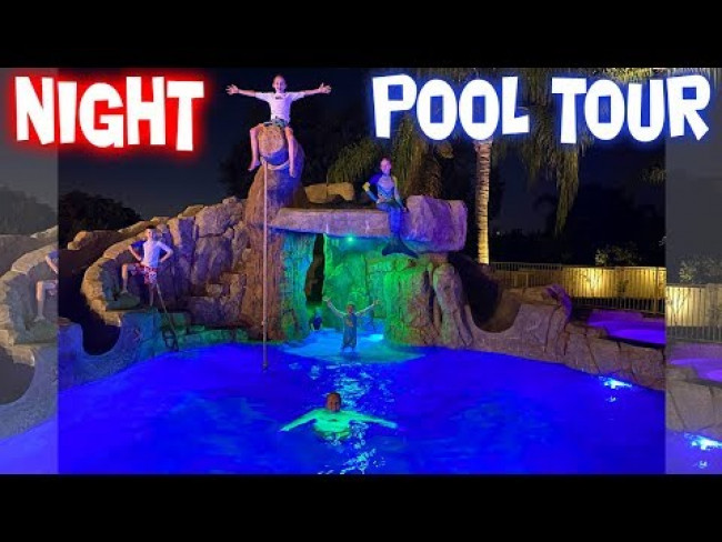 Amazing Pool Light Show - Nighttime Pool Backyard Tour!