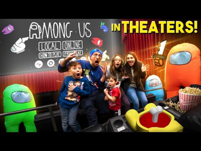 AMONG US @ the MOVIE THEATERS!  Gameplay + Hide and Seek + Real Life Cosplay (FGTeeV)
