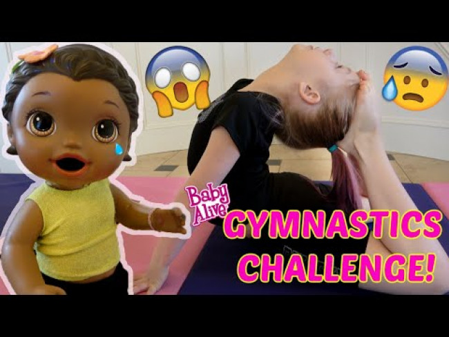 BABY ALIVE does a GYMNASTICS CHALLENGE! The Lilly and Mommy Show!  FUNNY KIDS SKIT!