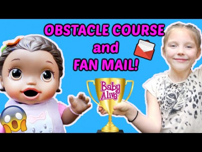 BABY ALIVE does a OBSTACLE COURSE with FAN MAIL! The Lilly and Mommy Show! FUNNY KIDS SKIT!