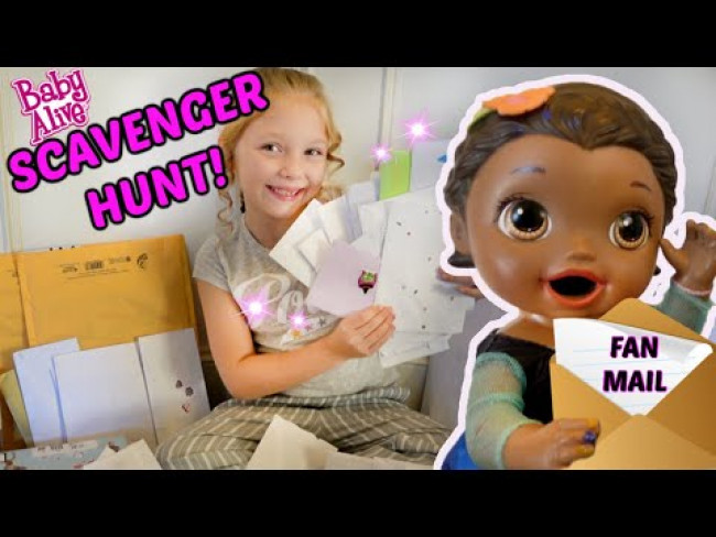 BABY ALIVE does a SCAVENGER HUNT for FAN MAIL! The Lilly and Mommy Show! FUNNY KIDS SKIT!