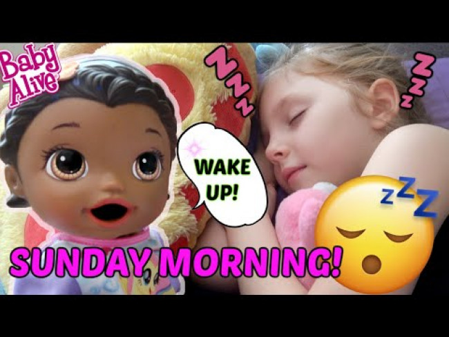 BABY ALIVE does a SUNDAY MORNING ROUTINE! SUNDAY FUNDAY! The Lilly and Mommy Show. FUNNY KIDS SKIT!