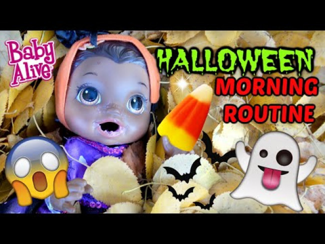 BABY ALIVE does her MORNING ROUTINE..HALLOWEEN EDITION! The Lilly and Mommy Show! FUNNY KIDS SKIT!