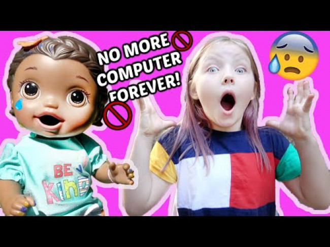 BABY ALIVE gets GROUNDED from the COMPUTER! The Lilly and Mommy Show! FUNNY KIDS SKIT!