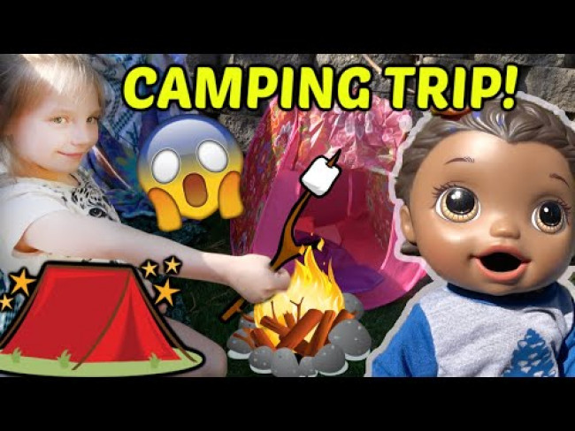 BABY ALIVE goes CAMPING! MARSHMALLOWS and SURPRISES! The Lilly and Mommy Show! FUNNY KIDS SKIT!