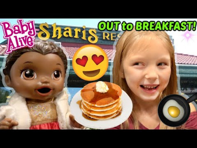 BABY ALIVE goes OUT to BREAKFAST! The Lilly and Mommy Show! The Toytastic Sisters. FUNNY KIDS SKIT!