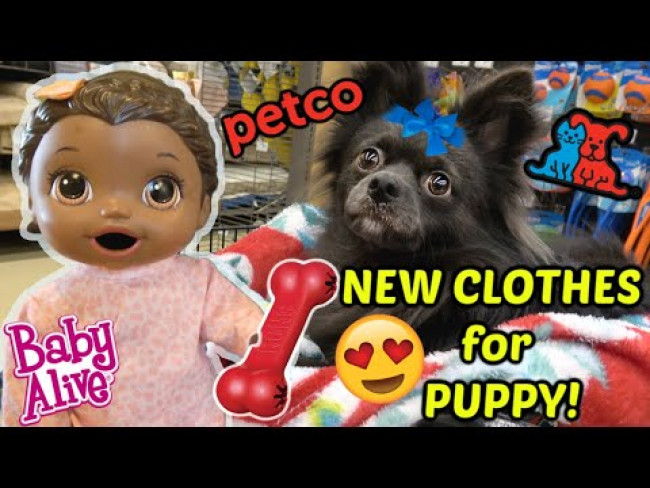 BABY ALIVE goes to the PET STORE! NEW COAT for PUPPY! The Lilly and Mommy Show! FUNNY KIDS SKIT!