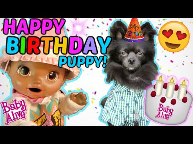 BABY ALIVE has a BIRTHDAY PARTY for her PUPPY! The Lilly and Mommy Show! FUNNY KIDS SKIT!