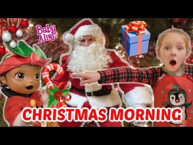 BABY ALIVE has CHRISTMAS MORNING! CATCHING SANTA! The Lilly and Mommy Show! FUNNY KIDS SKIT!