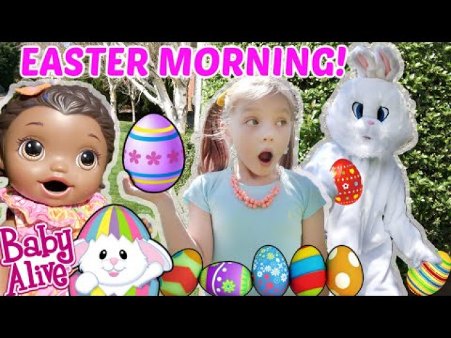 BABY ALIVE has EASTER MORNING! SURPRISE EGG HUNT! The Lilly and Mommy Show! FUNNY KIDS SKIT!