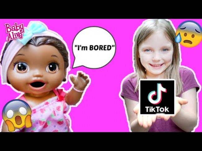 BABY ALIVE makes a BORED BOX! TIK TOK and MAKEUP! The Lilly and Mommy Show! FUNNY KIDS SKIT!