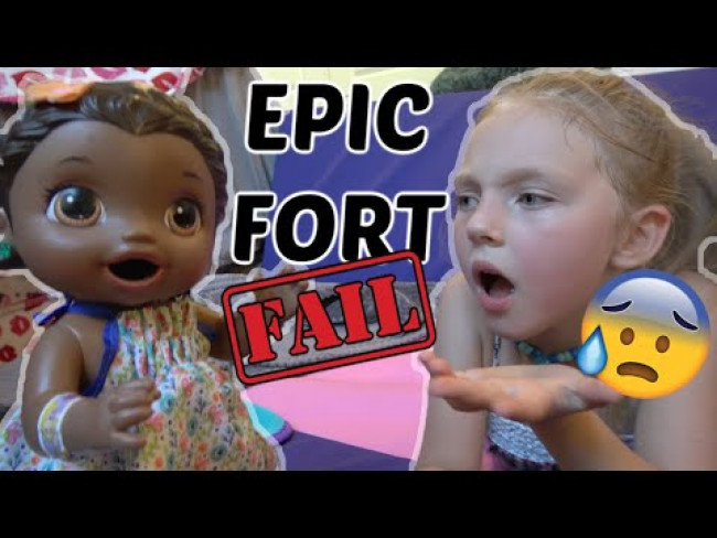 BABY ALIVE makes a EPIC FORT. FAIL! The Lilly and Mommy Show! The Toytastic Sisters, FUNNY KIDS SKIT