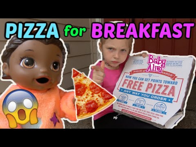 BABY ALIVE orders PIZZA for BREAKFAST! The Lilly and Mommy Show. The TOYTASTIC Sisters. FUNNY SKIT!