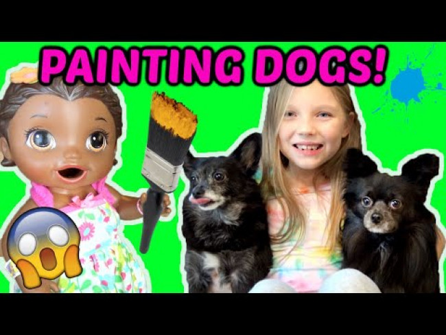 BABY ALIVE PAINTS with DOGS! DOG PAINTING TREND! The Lilly and Mommy Show! FUNNY KIDS SKIT! DOG ART!