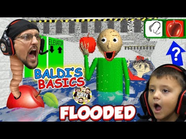 BALDI LOVES APPLES! Flooded & Foggy School Hallways! (FGTEEV
