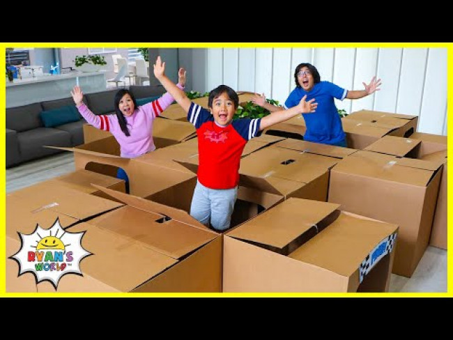 Box Fort Maze Ryan's Mystery Playdate at Home Challenge!!!