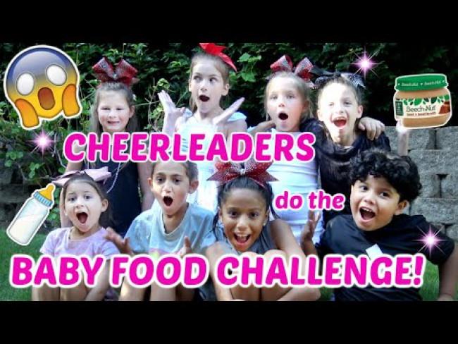 CHEERLEADERS do the BABY FOOD CHALLENGE! The TOYTASTIC Sisters! FUNNY KIDS SKIT! KIDS CHALLENGE!
