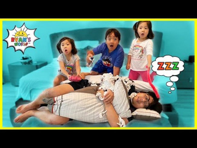 Don't Wake Daddy In Real Life Challenge with Ryan, Emma, and Kate!!!