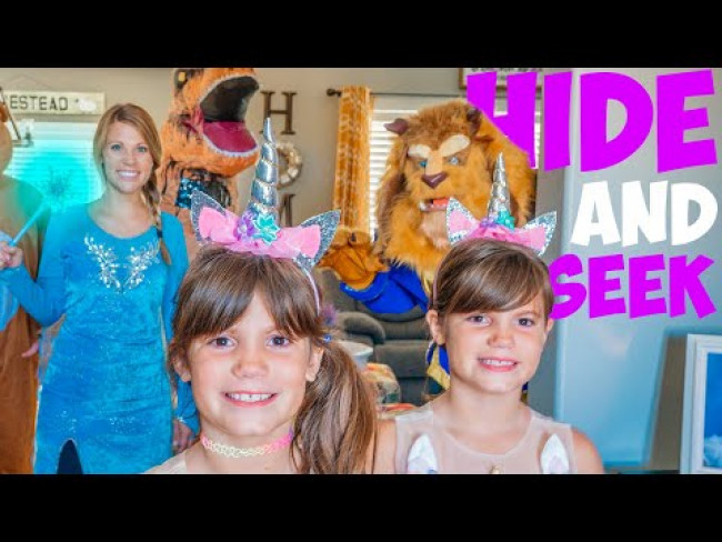 Elsa and Olaf play Hide and Seek with Beast, Olaf, T-Rex, and GIANT Teddy Bear!