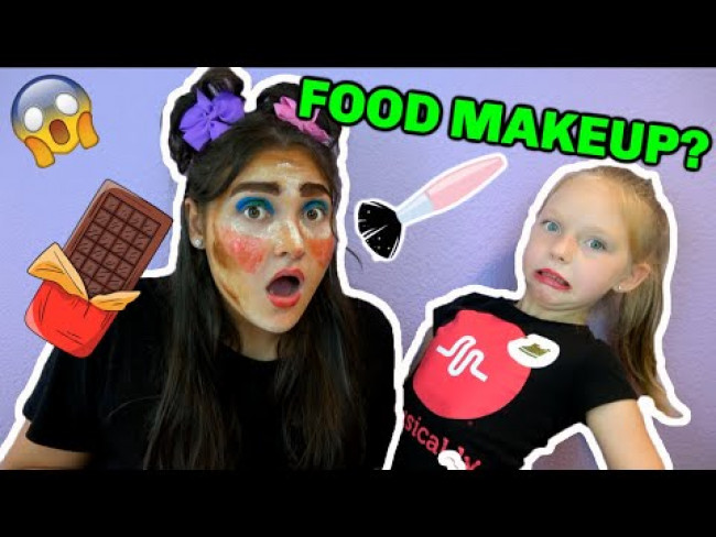 FULL FACE of MAKEUP ONLY USING FOOD Challenge! KAIA and SISSY! The TOYTASTIC Sisters. FUNNY KIDS!
