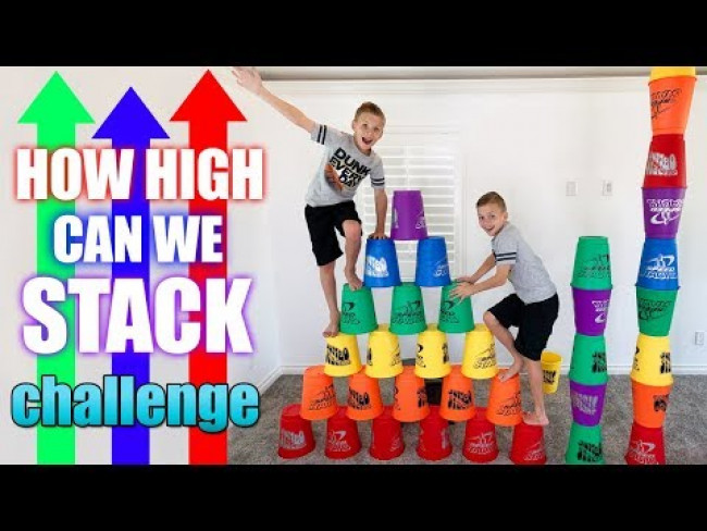 GIANT Stacking Cups Tallest Possible Tower Challenge!