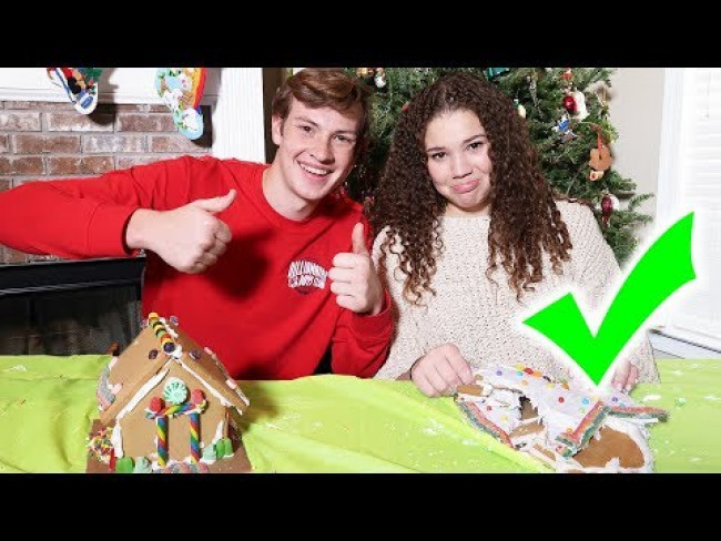 GIRLFRIEND vs BOYFRIEND GINGERBREAD HOUSE!