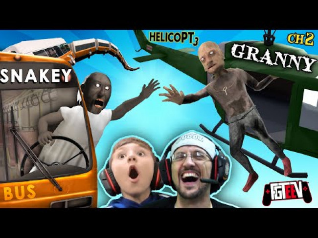 GRANNY & Grandpa vs. HELICOPTER Exclusive Ending!  FGTeeV Boys vs SNAKEY BUS! (2-in-1 Games)
