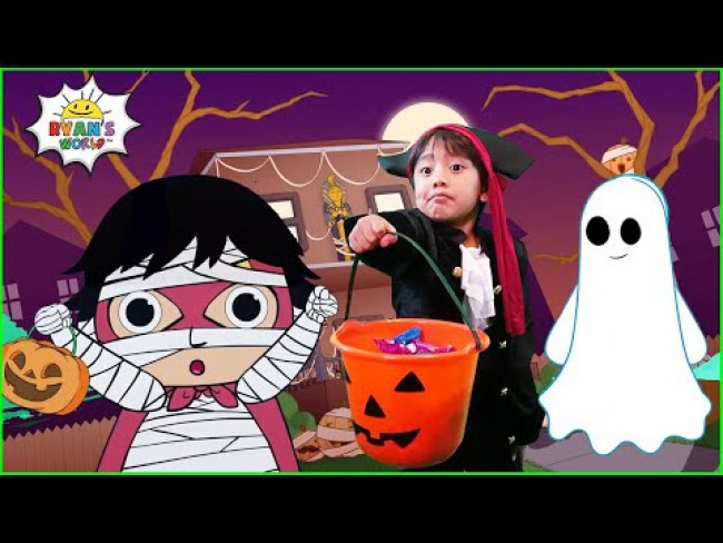 Halloween Trick or Treating at the Haunted House with Ryan | Animation for Kids