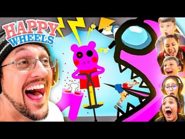 HAPPY WHEELS 6 Player Race!  Lose = Delete Youtube Channel (FGTeeV x Among Us, Piggy, Mortal Kombat)
