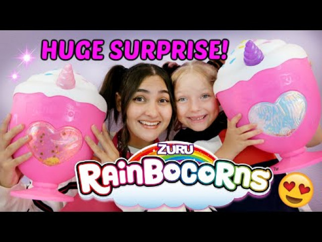 HUGE TOY OPENING! RAINBOCORN SURPRISE and SLIME! The TOYTASTIC Sisters. FUNNY KIDS SKIT!