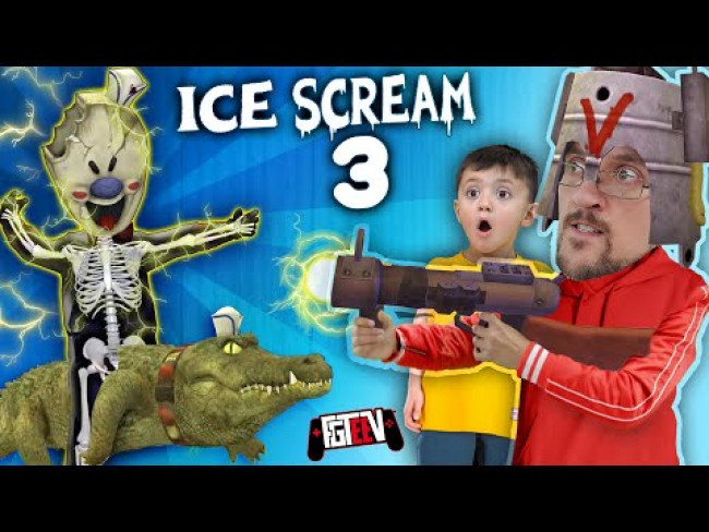 ICE SCREAM MAN 3!  He Hassa Cwocodile Dude!  Well, I gotta Zappa! (FGTeeV Double Glitches Game)