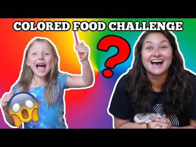 KAIA and SISSY do the COLORED FOOD CHALLENGE! 24 HOURS CHALLENGE! Family VLOG. TOYTASTIC Sisters.