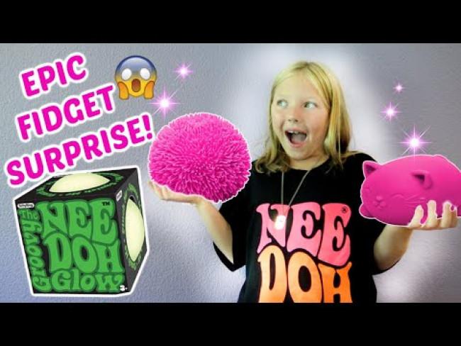KAIA gets a GIANT FIDGET SURPRISE BOX! HUGE NEE DOH! SURPRISE FIDGET TOYS! The Toytastic Sisters!