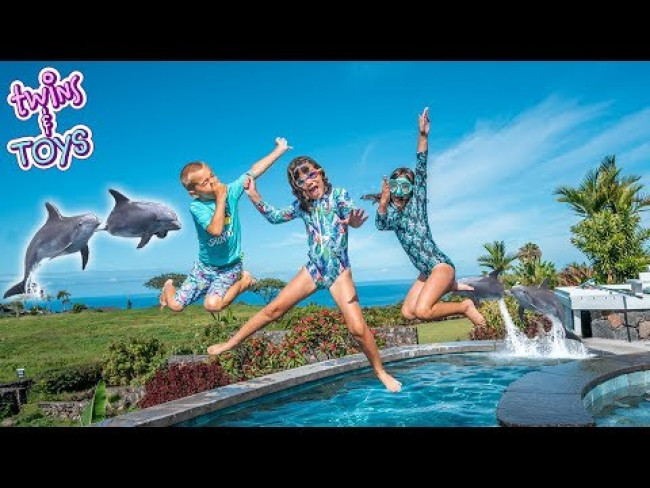 Kate & Lilly go Swimming at Tropical Island Water Park with Dolphins!