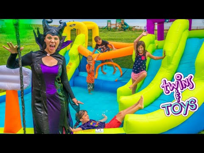 Kate and Lilly Play on GIANT Inflatable Water Park from Maleficent!