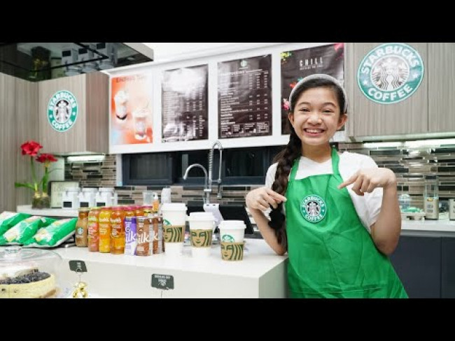 Kaycee Opens Up Her Own STARBUCKS at Home | Kaycee & Rachel