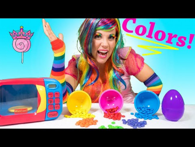 Learn Colors! Princess Lollipop uses The MAGIC Color Mixer to Teach COLORS!