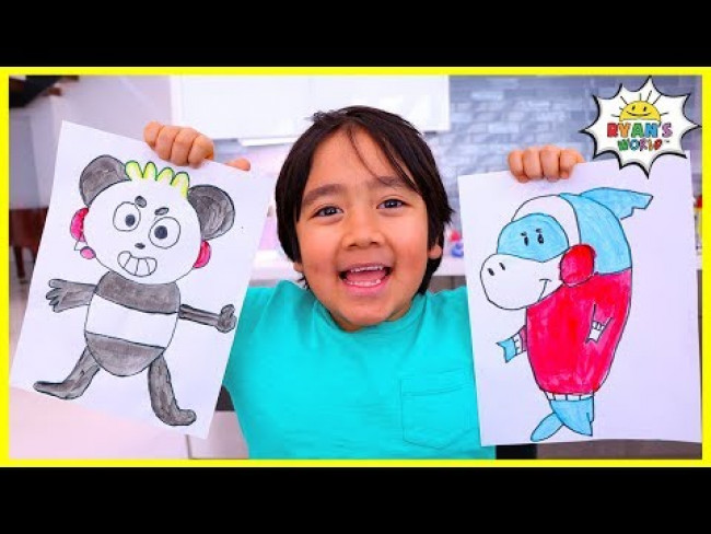 Learn to Draw and Color Combo Panda for Kids with Ryan!!