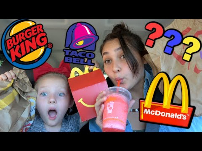 LETTING the PERSON IN FRONT of ME DECIDE WHAT I EAT! The TOYTASTIC Sisters! FUNNY FOOD CHALLENGE!