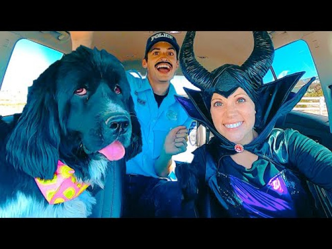 Maleficent Surprises Police & Puppy with Car Ride Chase!