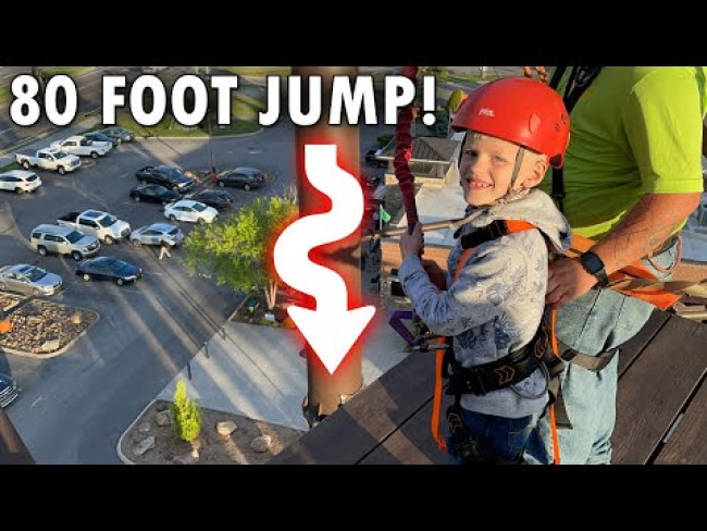 Michael Free Fall Jumps off a 80 FOOT TOWER!!!
