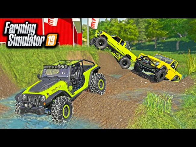 MUDDING & OFF-ROADING WITH (700HP) JEEP TRAIL CAT, BRONCO & LIFTED TRUCK! | FARMING SIMULATOR 2019