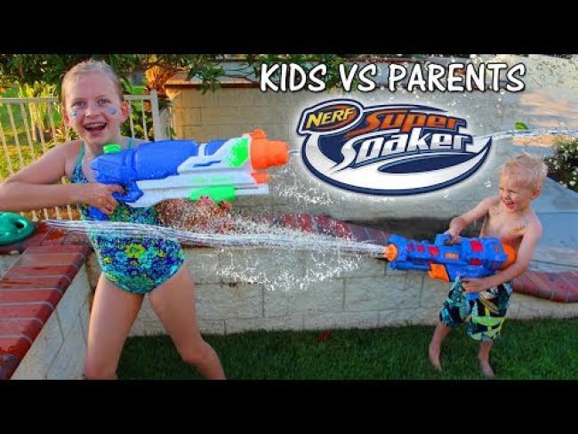 NERF WAR: Kids VS  Parents