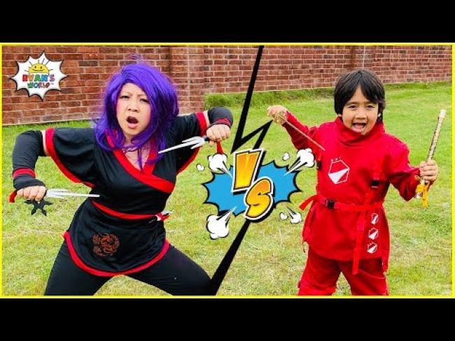 Ninja Ryan vs Dragon Ninja Mommy Master the elements Challenge!