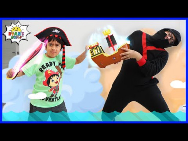 Ninja vs Pirate Ryan! Searching for the Pirate Ship with Treasures!