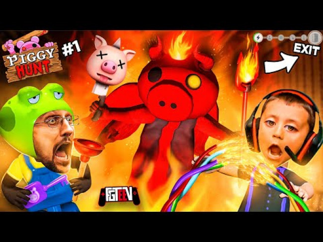 PIGGY HUNT #1 It's AMONG US but a Psycho Pig Hunts You While You do Tasks!  (FGTeeV Escape Gameplay)