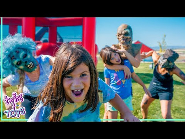 Play Zombie Tag in Giant Bounce House with Kate and Lilly!